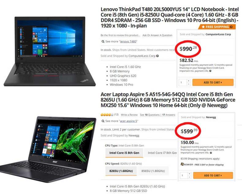 comparison thinkpad t480 aspire 5 laptops