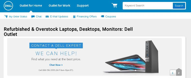 screenshot of dell outlet site