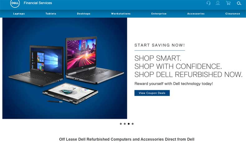 screenshot of dell refurbished website selling off-lease computers