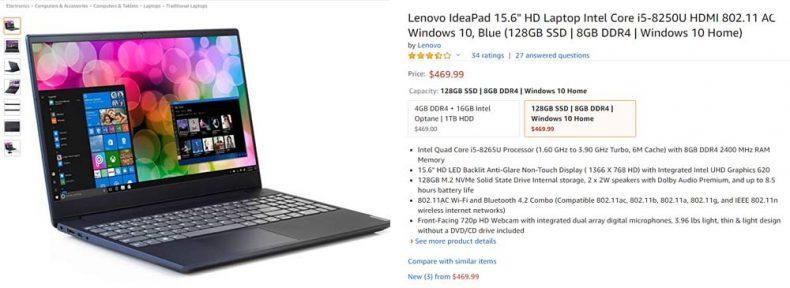 amazon listing screenshot of lenovo ideapad 15 inch 8th gen