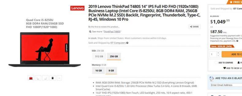 screenshot of lenovo t480s on newegg site