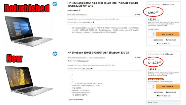 comparison between new and refurbished laptop of a same model