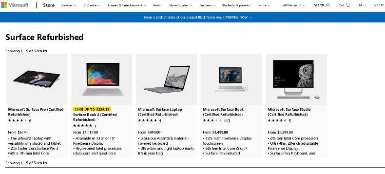 ms surface refurbished store