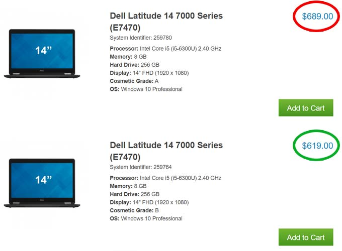 price comparison between grade a and grade b refurbished latitude