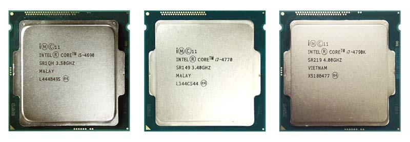 intel core i5-4690, core i7-4770, and core i7-4790K